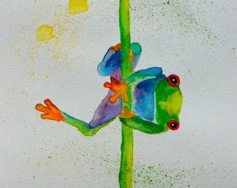 Red Eyed Tree Frog Watercolor