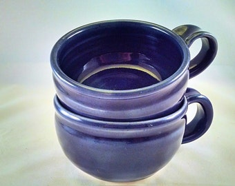 Pottery Soup Mug, Soup Mug, Blue Pottery Soup Crock, Large Tea Cup. Soup Bowl with Handle, Cappuccino Cup Gift under 50, Ready to Ship
