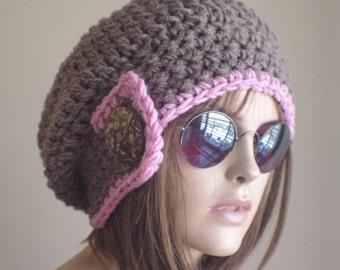womens hat Winter Hat BROWNE  - PINK Knit Hat Winter hat Slouchy Hat  winter Accessories Woman hat crochet hat