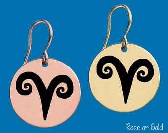 Gold or Rose Gold Zodiac Earrings   Aries   Aries Earrings   Aries Jewelry   Zodiac Jewelry   Zodiac Earrings   Apla Agapa