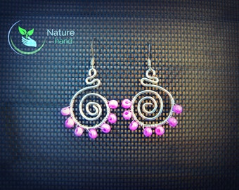 spiral earrings, purple earrings, boho drop earrings,wirewrap earrings