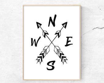Typography Ink Art, Compass, Cardinal Directions, North, South, East, West, Compass Art, Nursery Print, Arrow Art Print, Boho Compass,