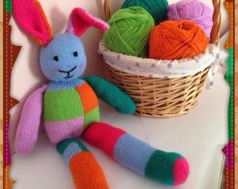 Patchwork bunny knitting pattern    toy rabbit knitting pattern