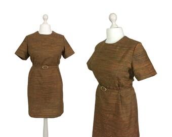 1960 Etuikleid | UK 16/18 Büste 40/42 | 60er Jahre Vintage Kleid || Ginger Brown-Kleid mit Gürtel