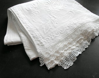 25% OFF Large Antique French Pique Coverlet with Magnificent Hand Crocheted Lace