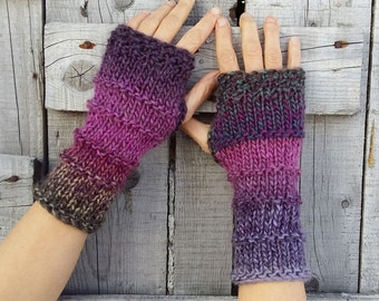 Fingerless Purple Gloves Chunky Wrist Warmers Warm Fingerless Mittens Unique Arm Warmers Boho Hand Knit Gloves Colorful Womens Gift