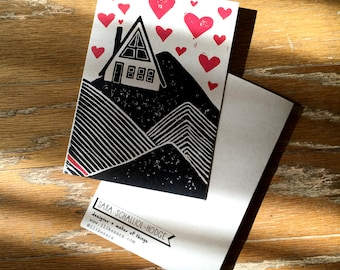 "A-FRAME LOVE greeting card with envelope 5"" x 7"" on kraft paper"