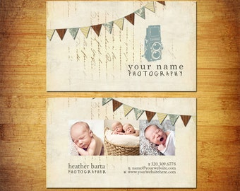 Photography Business Card PSD Template Design - Flag Banner Camera