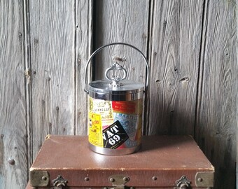 Funky Vintage Whiskey Advertising Ice Bucket  -  1970s Retro Ice Bucket with Advertising Labels