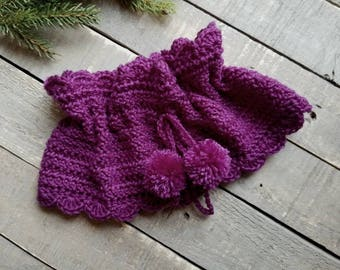 Drawstring Scarf  Cowl- crochet neck warmer with pom poms