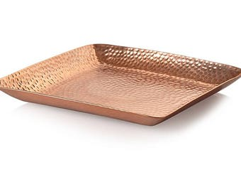 100% copper tray, metal tray, hand hammered, hand hammered tray, home decor, serving tray, serving tray copper, copper serving tray