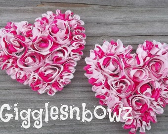 NeW SMaLLeR SiZE- Set of 2 Beautiful Shabby Chic Chiffon HEART Appliques- HoT PiNK HeART PRiNT  3 inch