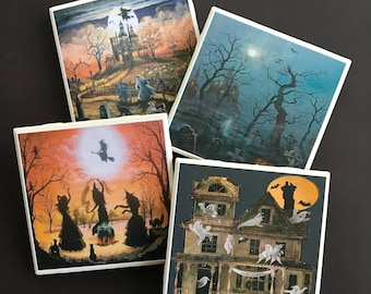 Halloween Coasters ~ Ceramic Tile Coasters ~ Halloween Decor ~ Home Decor ~ Seasonal Decor ~ Drink Coasters ~ Bar Coasters ~ Fall Decor