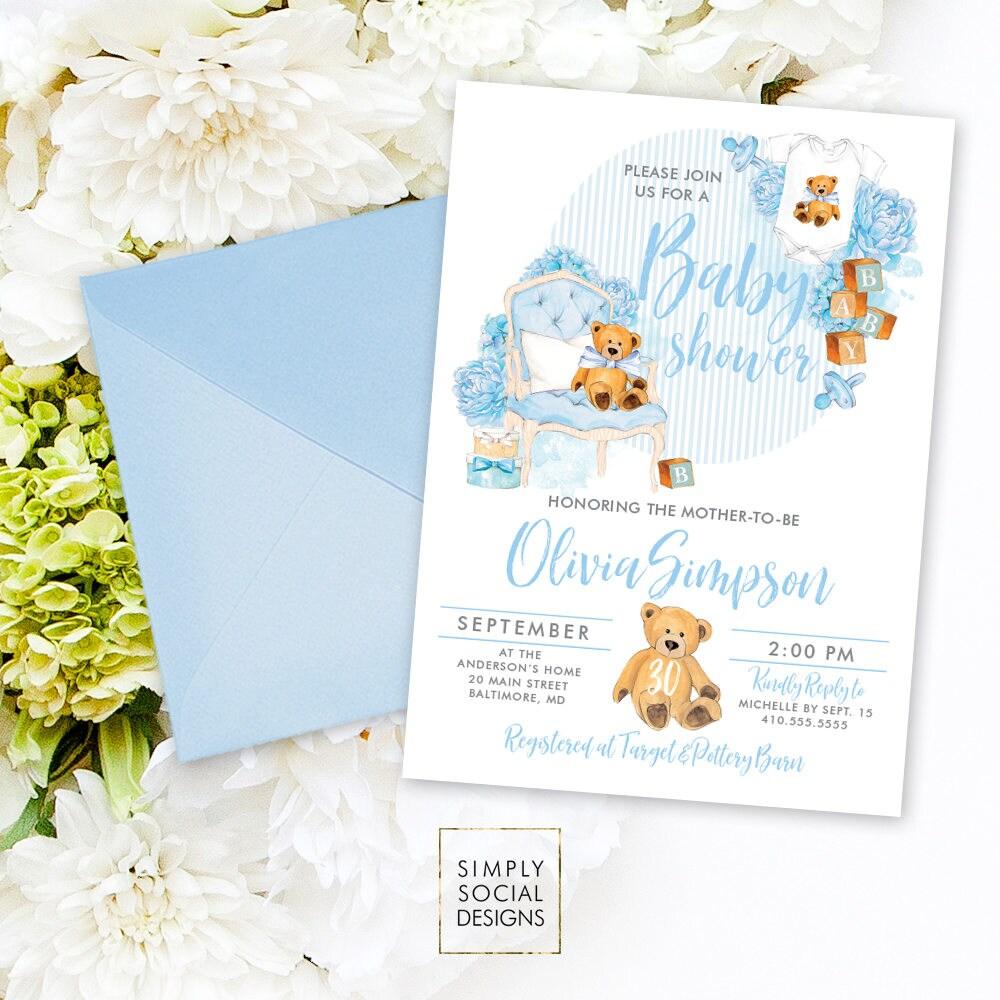 Teddy Bear Baby Shower Invitation - Baby Boy Baby Shower Invitation ...