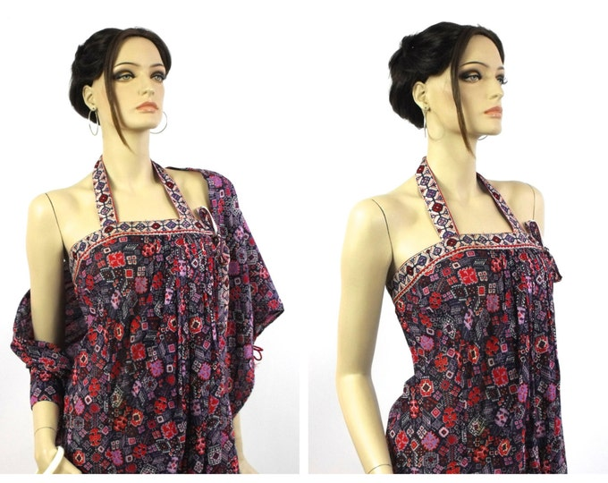 1970's Maxi Dress // Beach Wrap Dress // Made In Italy // Purple, Navy & Red Ethnic Inspired Italian Cotton Beach Wrap Maxi Dress