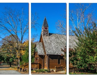 Tennessee Mountains Heart Wedding Chapel in Forest Canvas Triptych, 3 Panel Art, LARGE, Ready to Hang