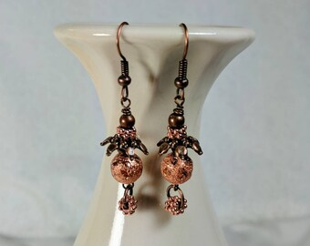 Copper Earrings, Copper Dangles, Sparkly Dangles, Shades of Copper, Bright Copper Earrings, Antique Copper, Lightweight Dangles