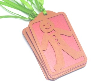 Gift Tags Holiday 12 pack gingerbread man design sized at 1.5  x 2.5