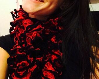 Red with Black trim Sashay Ruffle Scarf