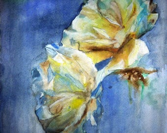 watercolor yellow and white flowers in the dark