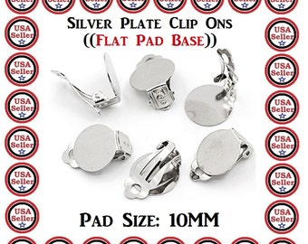 Blank Kids Clip On Earrings 100 Pieces Silver Plate Glue Pad 10mm DIY Craft Projects Jewelry Findings Cool  Gift Make Kids Clip On Earrings