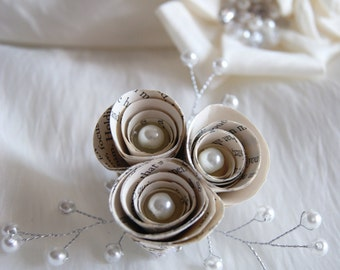 Paper flowers etsy paper flower brooch vintage mother of the bride or groom mightylinksfo