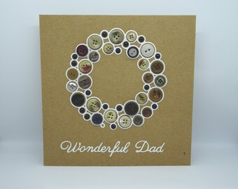 Wonderful Dad, Thanks Dad Card, Card for Dad, Handmade Dad Card, Fathers Day Card, Father's Day Card, Button Card, Buttons for Dad, Birthday