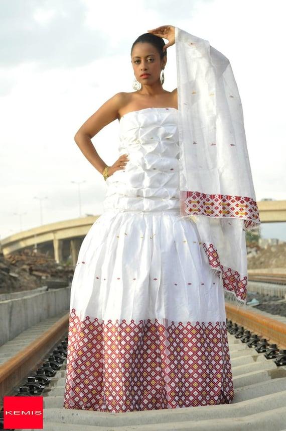 Ethiopian modern wedding dress/ Habesha dress/ Ethiopian