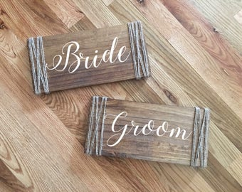 Bride and Groom Chair Signs- Wedding Photo Prop- Rustic Wedding Decor-Wood Sign- Rustic Bride and Groom Chair signs- Rustic Signs- Set of 2