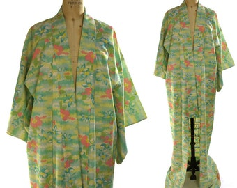 Vintage Floral Kimono / 1970s Bohemian Duster Watercolor Floral Pattern / Maxi Length Ethnic Asian Gypsy Jacket or Dress