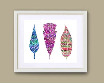 """8"""" x 10"""" Small Print. Colorful Southwest Feather Wall Art Decor. Digital File Download. Feather Art Print"""