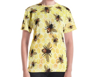 All-Over Bees on Yellow Honeycomb Misses' Women's T-shirt XS S M L XL 2XL