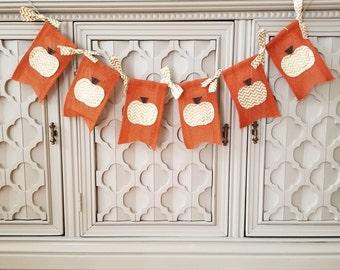 Gold Pumpkin Banner, Burlap Banner, Rustic Fall Banner, Fall Decor, Thanksgiving Banner, Mantle Decor, Fall Burlap Banner, Farmhouse Decor