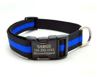 Layered Stripe Laser Personalized Dog Collar - THIN BLUE LINE
