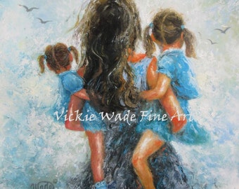 Mother Two Daughters Art Print, mother paintings, mom, two girls, carrying, mother's day gift, girls room, mother daughter hug, Vickie Wade