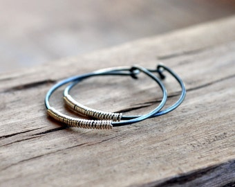 Silver Lining Hoop Earrings - Oxidised Sterling Silver Handmade Hoops with a Contrasting Silver Coil.
