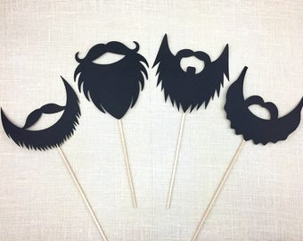 Black Beards Photo Booth Props / Wedding Photo Props / Beard Props / Lumberjack Party Props / Birthday Party / FULLY ASSEMBLED / 4 PC
