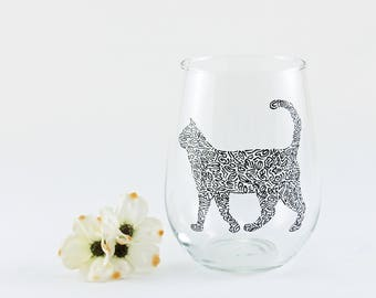 Cat wine glass - Hand painted stemless wine glass