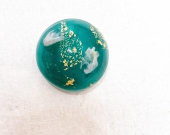 Perle vert et or pour bague interchangeable et ajustable en verre filé, pièce unique, SAVI01