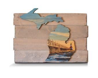 Photo on Wood - Any Size | Custom Woodprint |  Lake house Decor | Lake Signs | lighthouse decor | Wood Print | Lighthouse | Photo on wood |