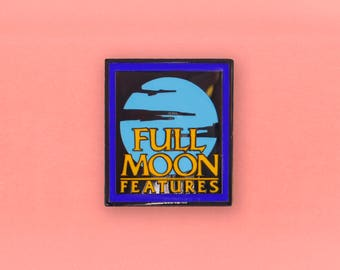 Full Moon Features Logo Enamel Pin - Retro VHS Horror lapel pin