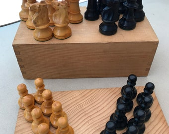 Vintage Chess Set Wooden Pieces in Wood Box - missing one black knight.