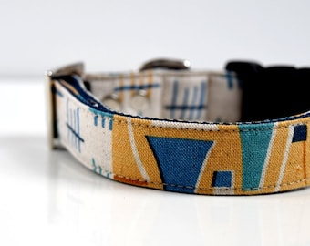 Cotton Linen Abstract Patchwork Dog Collar - beige, yellow, blue