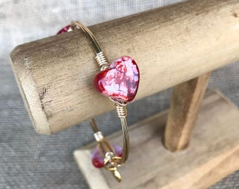 Red Fire Agate Heart Valentine's Day Bangle Bracelet