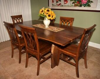 Custom Made Walnut SLab Dining Room Table