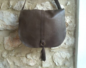 Dark green leather bag