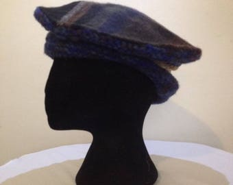 Blue Tartan hat with knitted base