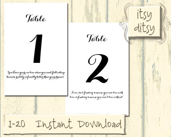 Printable Table Numbers Love Quote Digital Wedding Table