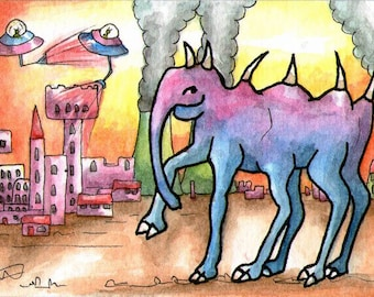 Elephant 6 legs alien ufo castle wall art miniature art ATC Gift Art Trading Card Whimsical  - Original ART ACEO Watercolor - Katie Hone