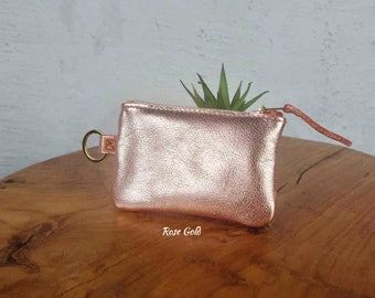 Rose Gold KEY RING purse, Soft rose gold leather, zipper key purse, key holder coin purse, key ring card pouch
